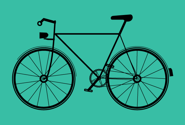 Bike graphic on teal green background