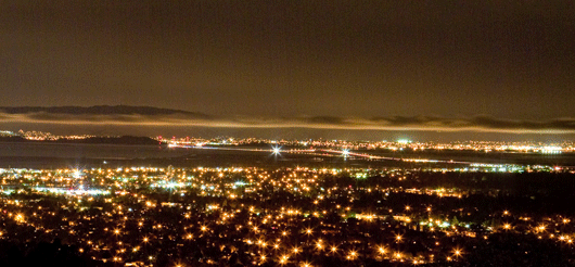 lights of Silicon Valley at night